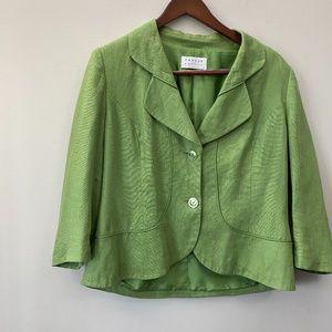 Green Linen Jacket, Sz12.                      B12